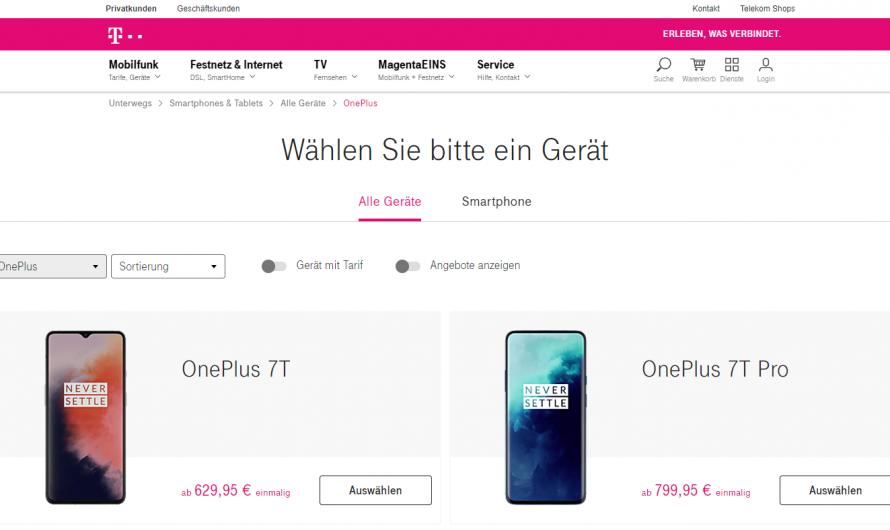 Oneplus Smartphones jetzt offiziell bei der Deutschen Telekom erhältlich
